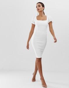 Белое облегающее платье с пышными рукавами на манжетах Vesper - Белый