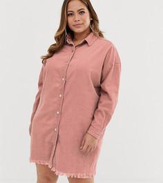 Розовое вельветовое платье-рубашка Missguided Plus - Розовый