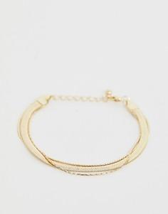 Золотистый браслет в винтажном стиле из цепочек в несколько рядов ASOS DESIGN - Золотой