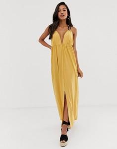 Платье макси с кольцами ASOS DESIGN - Желтый