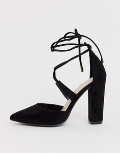 Туфли-лодочки на блочном каблуке с завязками Glamorous - Черный