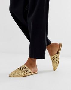 Золотистые кожаные плетеные мюли ALDO - Золотой