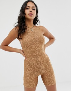 Комбинезон-шорты с леопардовым принтом Motel - Коричневый