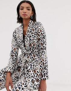 Пиджак с абстрактным звериным принтом и завязкой на талии Helene Berman - Мульти