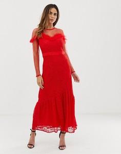 Платье макси с кружевной накладкой и оборками Liquorish - Красный