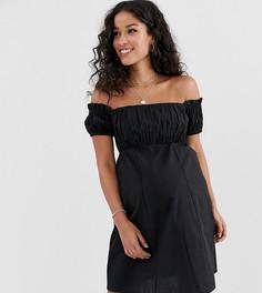 Сарафан мини с открытыми плечами и присборенным лифом ASOS DESIGN Maternity - Черный