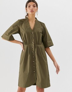 Хлопковое платье мини с пуговицами Y.A.S - Кремовый