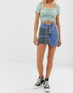 Джинсовая юбка со вставкой в клетку Pull&Bear - Мульти