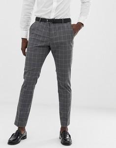 Узкие серые брюки в клетку Selected Homme - Серый