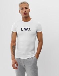 Узкая белая футболка для дома с логотипом Emporio Armani - Белый