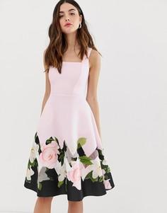 Платье миди с квадратным вырезом и принтом по краю City Goddess - Розовый
