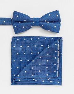 Синий галстук-бабочка и платок для пиджака в горошек Twisted Tailor - Синий