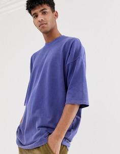 Oversize-футболка из фиолетового выбеленного пике с рукавами до локтя ASOS DESIGN - Фиолетовый