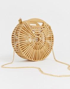 Светло-бежевая круглая деревянная сумка New Look - Светло-бежевый