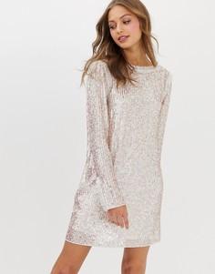 Блестящее свободное платье мини Needle & Thread - Мульти