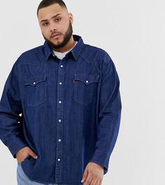 e709c8bb1eb1b80 Красная джинсовая рубашка классического кроя в стиле вестерн Levis Big &  Tall - Синий