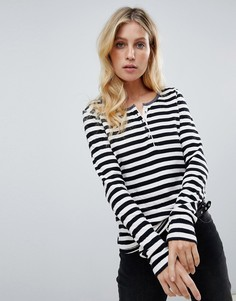 Maison Scotch striped grandad t-shirt - Черный
