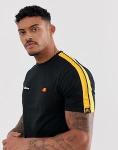 Черная футболка с полосками на рукавах ellesse Crotone - Черный