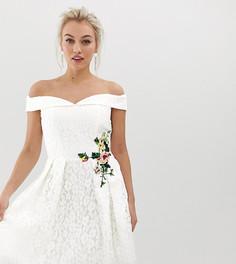 Короткое приталенное платье с открытыми плечами Little Mistress Petite - Белый