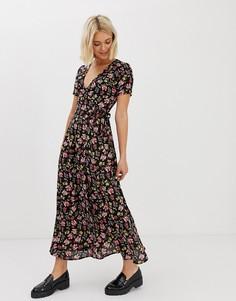 Платье макси с цветочным принтом New Look - Мульти