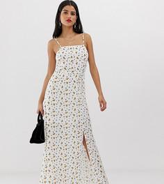 Платье макси с квадратным вырезом и цветочным принтом Vero Moda Tall - Кремовый