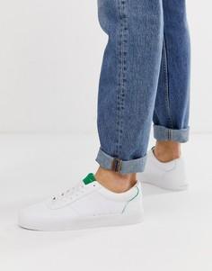 Белые кроссовки с зеленой отделкой Bershka - Белый