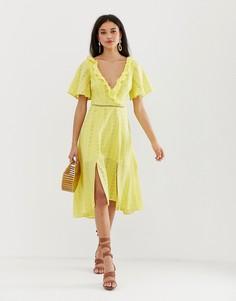 Платье миди с вышивкой ришелье Finders Keepers Sundays - Желтый