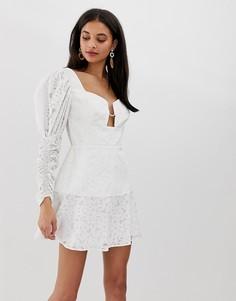 Платье мини с пышным рукавом на манжете Finders Keepers Evie - Белый