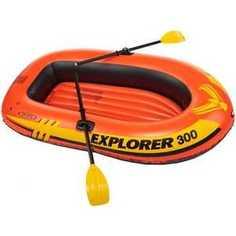 Надувная лодка Intex Эксплорер 300 211х117х41см с пластик. веслами и насосом, от 6лет, 58332/58332NP