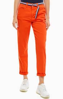 Хлопковые брюки чиносы с ремнем Tom Tailor Denim