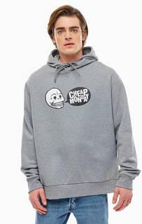 Серая хлопковая толстовка с логотипом бренда Cheap Monday