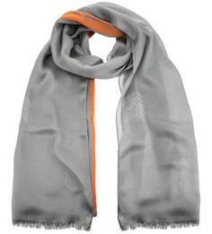 Серый палантин из шелка Emporio Armani