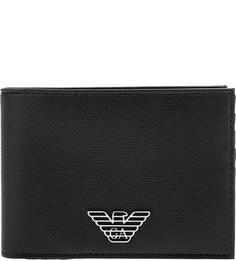 Черное портмоне с металлическим декором Emporio Armani