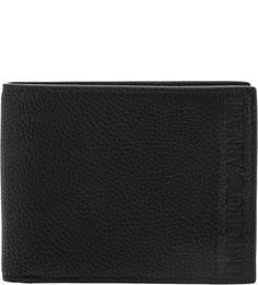Черное портмоне с двумя отделами для купюр Emporio Armani