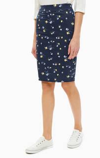 Синяя юбка-карандаш с цветочным принтом TOM Tailor