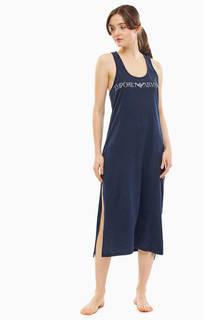 Домашнее хлопковое платье синего цвета Emporio Armani
