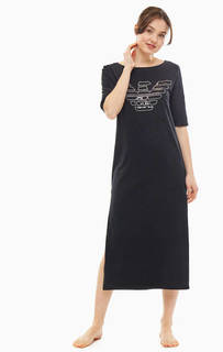 Черное домашнее платье из хлопка Emporio Armani