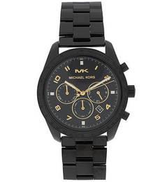 Черные металлические часы с хронографом Michael Kors