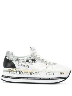 White Premiata кроссовки на платформе с пайетками