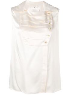 Chanel Vintage плиссированная блузка 1980-х годов с панельным дизайном