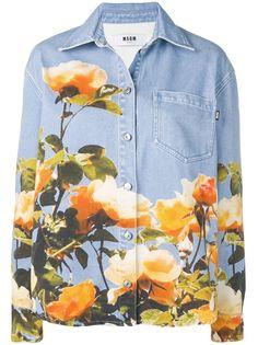 MSGM джинсовая рубашка с цветочным принтом