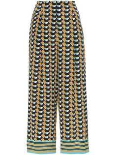 Etro укороченные брюки с геометричным принтом