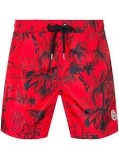 Moncler Scribble tropical print swim shorts