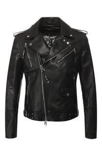 Кожаная куртка на косой молнии Alexander McQueen