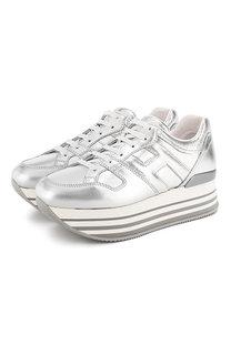 Кроссовки из металлизированной кожи Hogan