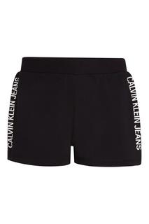 Черные шорты с логотипами Calvin Klein