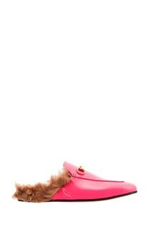 Розовые слиперы Princetown с мехом Gucci