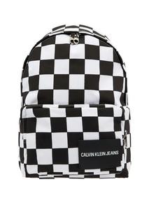 Черно-белый рюкзак в клетку Calvin Klein