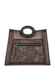 Сумка-шопер из разноцветной сетчатой ткани Fendi