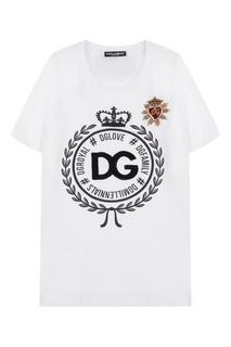 Футболка с принтом, пайетками и вышивкой Dolce & Gabbana